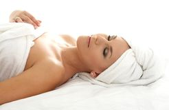 Remedial #3. Beautiful lady in spa salon Royalty Free Stock Images