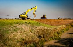 Remedial work on land protection bank stock photo