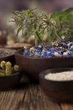 Remedio, mortero e hierbas naturales Imagen de archivo libre de regalías