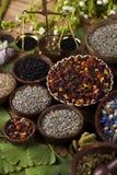 Remedio natural, medicina herbaria y fondo de madera de la tabla Imagen de archivo libre de regalías