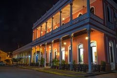 Remedios Cuba: Camino del Principe hotel at night Stock Photo