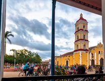 Remedios Cuba: Catholic Church Saint John Baptist in the daytime Stock Photography