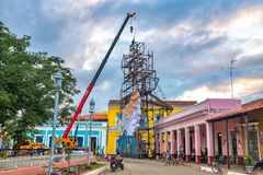 Remedios Cuba: Lights Display under construction in the main plaza Stock Photos