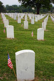 Remember. Tombstones Decorated with Flags on Memorial Day. Chatanooga National Cemetery royalty free stock photo