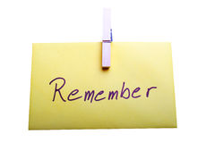 Remember. Digital photo of a note with the letters Remember on royalty free stock image