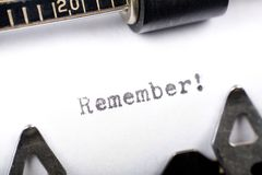Remember. Typewriter close up shot, concept of Remember Royalty Free Stock Photography