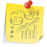 Remember the data. Doodle style graph and chart elements on yellow sticky note sketch in format stock illustration
