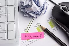 Remember Kick off. Meeting with different business objects Royalty Free Stock Photo