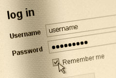 Remember me - Login form Stock Image