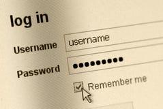Remember Me - Login Form Stock Image