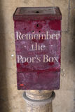 Remember the Poors Box. A Remember the Poors Box located at St. Bartholomews Hospital in London, UK.  Before the National Health Service, the sick were dependent Royalty Free Stock Images
