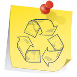 Remember recycling sticky note Stock Photography
