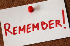 Remember!. Sticky note with red pin with text - remember Royalty Free Stock Images
