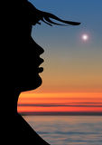 Remember the summer. Illustration of wind moves hats of one girl to the sunset Stock Photography