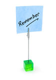 Remember text on blue note paper Stock Photo