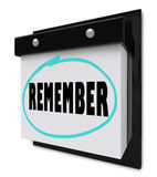 Remember - Wall Calendar Stock Photography