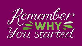 Remember why you started - Hand drawn inspirational quote. Vector isolated typography design element. Good for prints, t-shirts,. Cards, banners. Hand lettering vector illustration
