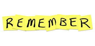 Remember - Word on Yellow Sticky Notes Stock Image