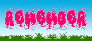 REMEMBER written with pink balloons on blue sky and green grass background. Royalty Free Stock Photography