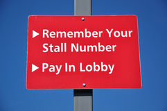 Remember your stall number. Pay in lobby Stock Photography