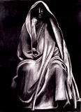Rememberance. Charcoal drawing of a renaissance sculpture stock illustration