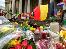 Rememberance of the attacks in Brussels, Belgium, on the Place de la bourse stock image