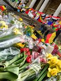 Rememberance of the attacks in Brussels, Belgium, on the Place de la bourse stock images