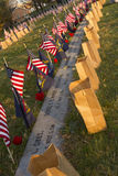 Remembrances at Soldiers Cemetery in Gettysburg. Gettysburg, PA, USA - November 15, 2014 :  Graves decorated with flags and state flowers before the 12th Annual Royalty Free Stock Photography
