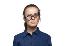 Remembered woman in glasses Royalty Free Stock Image