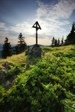 Remembering the climbers - gravestone on mountain Stock Image