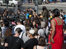 Remembering Michael Jackson. Many fans gather in front of the UCLA Medical Center to remember Michael Jackson Stock Images