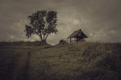 Remembering The Past. The overcast rural landscape photography Royalty Free Stock Image