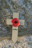 In Remembrance. Cross at war memorial Stock Photo