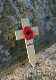 In Remembrance. Remembrance Poppy & Cross stock photography