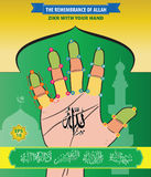 The Remembrance of Allah, Zikr With Your Hand. Royalty Free Stock Images