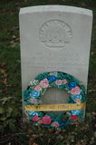 Remembrance. Of Australian soldiers with wreaths made by Australian schoolkids and ut on the graves far from their homeland in Belgium Royalty Free Stock Image