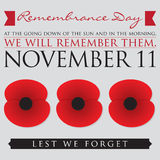 Remembrance Day. Card in vector format Royalty Free Stock Photos