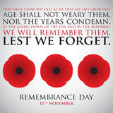 Remembrance Day. Card in vector format Royalty Free Stock Images