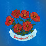 Remembrance Day greeting day. Illustration with poppies on Remembrance day vector illustration