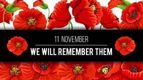 Remembrance day 11 November vector poppy banner. Remembrance Day Lest we Forget 11 November greeting banner or card of poppy flowers and quote on black memory stock illustration