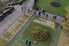 Remembrance Day memorial in Princes Street Park, Edinburgh. Scotland, seen from above in the Scott Monument Stock Photo