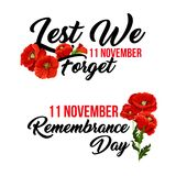 Remembrance day 11 November vector poppy icons. Remembrance Day Lest we Forget poppy flowers icon for 11 November Anzac Australian, Canadian and Commonwealth vector illustration