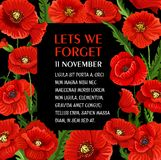 Remembrance day 11 November vector poppy poster. Remembrance Day poster for Lest we Forget 11 November poppy flower greeting card. Vector design for Commonwealth royalty free illustration