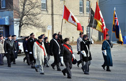 Remembrance Day parade. Photo was taken during Canadian Remembrance Day ceremonies in Winnipeg City, Manitoba province, Canada. on November 11, 2013. Location St Royalty Free Stock Photos