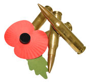 Remembrance Day Poppy And Bullets Royalty Free Stock Photos