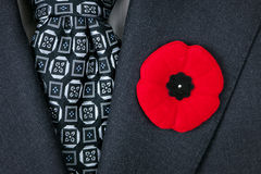 Remembrance Day poppy on suit. Red poppy lapel pin on suit jacket for Remembrance Day Royalty Free Stock Photos