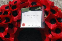 Remembrance day poppy wreath. In remembrance of those who died at the Somme Stock Photo