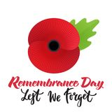 Remembrance day poster. Vector illustration of a bright poppy flower. Remembrance day symbol. Lest we forget lettering royalty free illustration