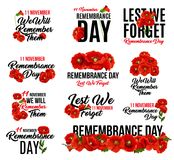 Remembrance Day red poppy flower icon design. Remembrance Day poppy flower icon. Memorial Day floral symbol of red poppy flower wreath with Lest We Forget text stock illustration