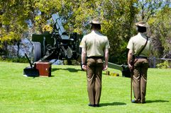 Remembrance Day. Gun Salute in Park stock images
